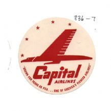 Collctable Vintage Airline luggage label Capital Airways  #836